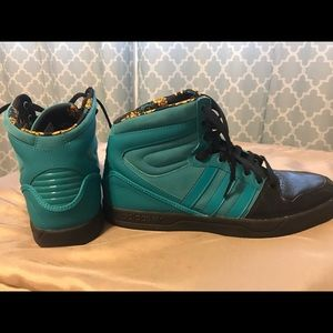 Men's Adidas High Top Shoes (Teal Color)